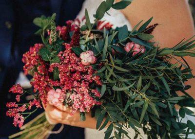 Bouquet de mariée rouge